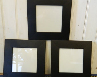 Set of 3 Wide Black Frames 5 x 5""