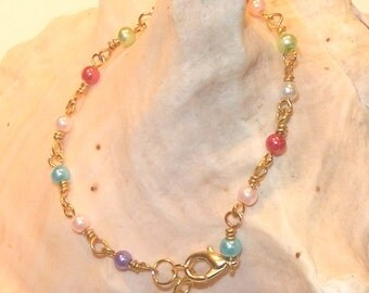 Bracelet - Mulit Color Faux Glass Pearls in Gold or Silver
