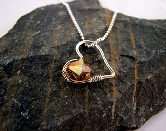Heart Wire Wrapped Birthstone Charm Necklace
