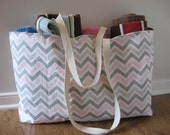 Beach Bag Extra Large - Pink and Gray Chevron Beach Tote - Water Resistant Lining - Interior Pocket
