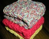 Cotton Crochet Wash Cloths - Set of 3