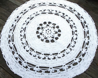 "Crochet Rug White Cotton in 45"" Circle Flower Pattern Non Skid"