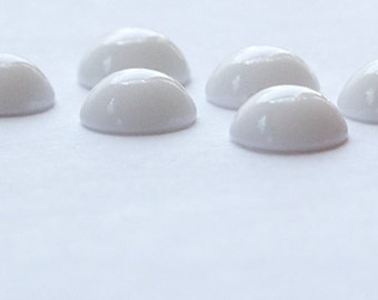Vintage Opaque White Glass Domed Cabochons 8mm cab167C