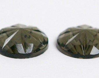 Vintage Black Diamond Faceted Glass Cabochons 15mm cab188A