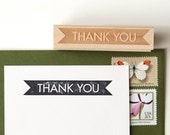 Thank You Rubber Stamp, Original Minimalist Modern Design (Wood Mounted) with optional wooden handle (S102)