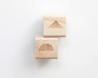 """Radiating Lines Mini Rubber Stamps (Wood Mounted) Abstract Geometric Design Set of 2, Mini Duos 1/2"""" size (M5A-5B) DIY Stationery, Packaging"""