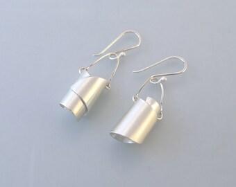 Twisted Bucket Sterling Silver Earrings - E1870