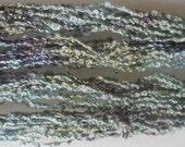 Sage Green, Lavender, Lilac, 100% silk boucle, hand dyed, Yarn, Mixed Media, Textile Art, Fiber Art, Serendipity