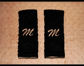 Personalized Baby Boy Or Girl Reversible Minky Caramel and Black Carseat Strap Covers