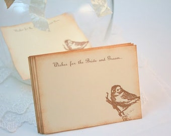 Wedding Wish Jar Cards Wedding Shower Vintage Bird Set of 10