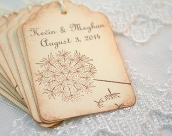 Dandelion Favor Tags Wedding Gift Tags Set of 50