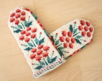 Hand-knit wool mittens -- beautiful mountain ash berry Scandinavian design -- MADE TO ORDER