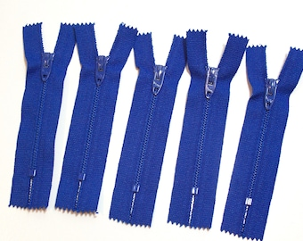 Small Blue Zippers, Royal Blue Talon Zippers 3 inch, Set of 5