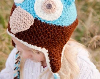 Aqua and Brown Owl Hat for 2 - 4 year olds