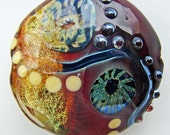 Extra Large Red and Amber Lampwork Lentil Focal Bead w Silver Glass Murrini, Dichroic Sparkle & Raised Silver Glass Dots SRA ISGB LE