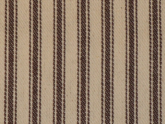 Vintage Inspired Potting Soil Brown Cotton Ticking Stripe Material 1 Yard