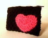 RESERVED for Allison - CUSTOM ORDER - black & hot pink handknit sweetheart change purse