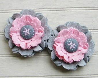 Wool Felt Flowers - Large Blooms Pink & Gray with Covered Button