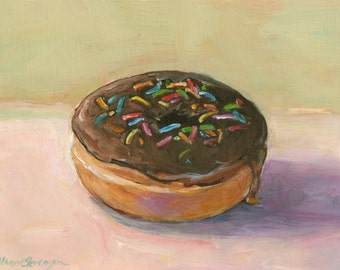 Chocolate Donut With Sprinkles Original Painting Dessert Still Life Home Kitchen Wall Decor