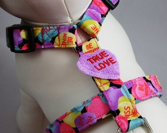 Dog Harness - Conversation Hearts