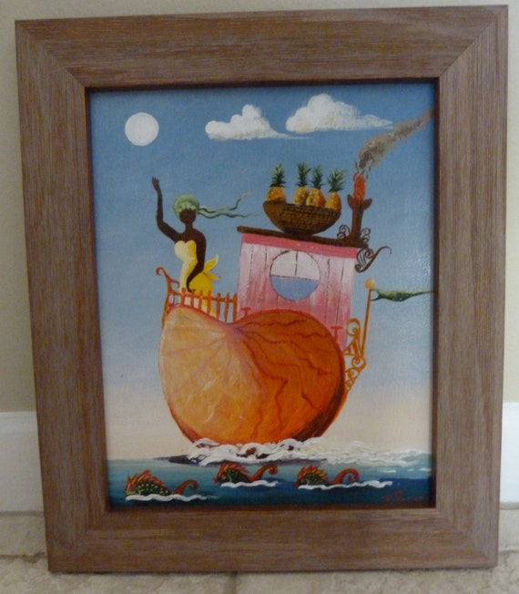 Original One Of a Kind Fine French Acrylic Folk Art Painting Fantasy Whimsy Nautical
