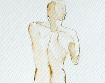 Framed Original, Framed 11x14 Art, Male Nude Figure Drawing,Walnut Ink on Paper, 11x14 Matted and Framed, Standing Nude Male Back