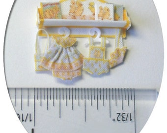 KIT Dollhouse Miniature Quarter Scale Darling Duckling Set/Shelf, fabric outfit clothing kit 1:48