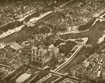 Aerial View of Paris, 1920's,  Vintage book page scan Instant Digital Download, DB042