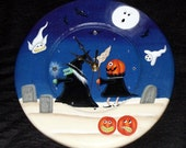 "Hand Painted Wooden Primitive 11-1/2"" John Sliney Halloween Scene Wall Clock - Halloween Decor -Folk Art - Primitive -Tole Painted"