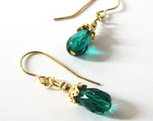 Emerald Green Teardrop Earrings, Upcycled Vintage Glass Beads