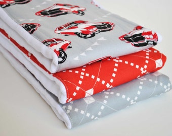 CLEARANCE SALE !! / Red Cars Set of (3) Burp cloths / Coordinating fabric on 3ply cotton burp cloths / Very handy for baby care