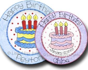 11 inch Personalized Birthday Plate - Birthday Cake Design