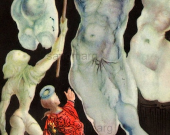 1945 Salvador Dali Illustration The King and His Majesty Surrealism