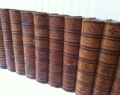 Antique leather bound dictionary, 1876 - marbled pages- set of 7