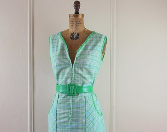 Grass Green and Sky Blue, vintage Plaid Cotton Day Dress - size large