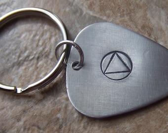 Recovery Keychain, Sobriety Key Ring, Guitar Pick Key Ring, AA Symbol Keychain, NA Alanon 12 Steps Key Ring, ODAAT Key Ring, Sober Key Ring