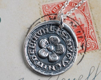 flower wax seal necklace... bloom joyfully ~ eco friendly silver medieval wax seal jewelry