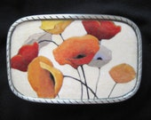 Wearable Art Interchangeable Poppy Belt Buckle.  Lead free pewter.  Great gifts for yourself or others!  Recyled belts available too.