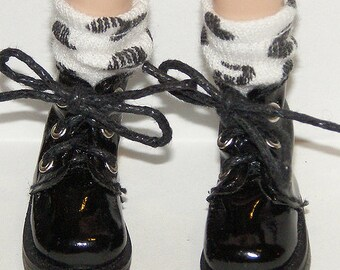 Short Black And White Leopard Print Socks For Blythe...One Pair Per Listing...