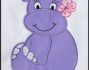 INSTANT DOWNLOAD Miss Hippo Applique designs