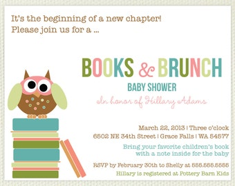 Book Baby Shower Invitation With Little Owl and Matching Bookplates Set of 10