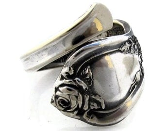 Spoon Ring Size 5 to 8 Wrapped Demitasse Rose From 1903