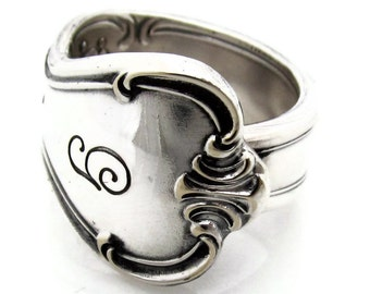 Spoon Ring Signature Pattern With a G size 9 10 11 12 13 14 15
