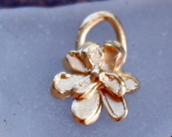 TWO Flowers Tiny Gold 14k Plate