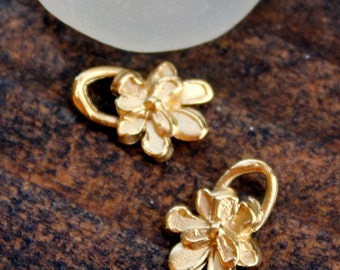TWO Flower Charm Gold  Tiny Gold 14k Plate