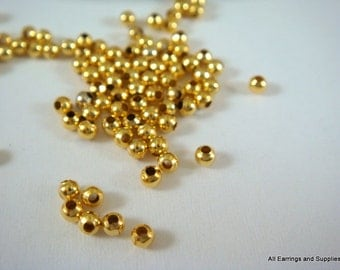 250 Gold Spacer Beads 2mm Plated Iron Metal Beads - 4.5 grams - M7046-G250