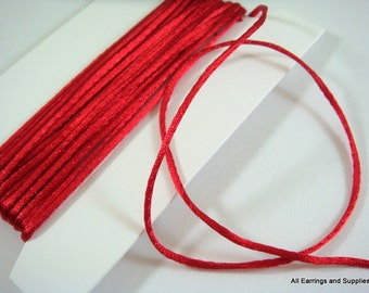 BOGO - 15ft Red Satin Cord 1mm Bugtail - 5 yds - STR9066CD-RD15 - Buy 1, Get 1 Free - no coupon required