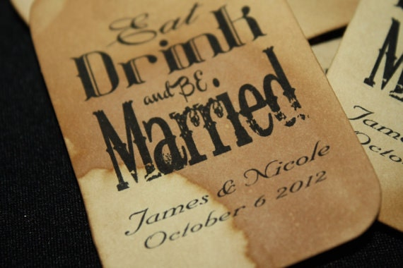 """100 2"""" SMALL Personalized Favor Tag Eat Drink Be Married"""