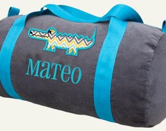 Personalized Duffle Bag Alligator Monogram Toddler Boys Corduroy Sports Duffel