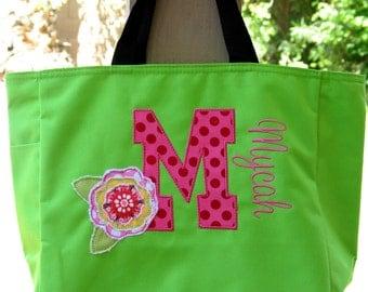 Personalized Tote Bag Flower Girl Monogrammed Dance Bag Bookbag